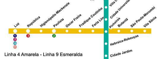 mapa-linha-nove-esmeralda-cptm-e-linha-quatro-amarela-do-metro